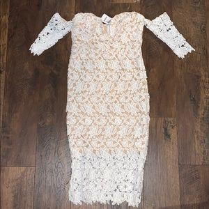 Strapless lace midi dress